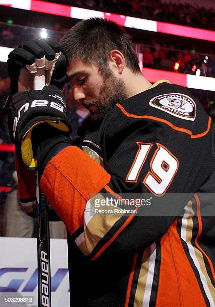 Patrick Maroon of the Anaheim Ducks stands during the national anthem before the game against the Winnipeg Jets on January 3 2016 at Honda Center in...