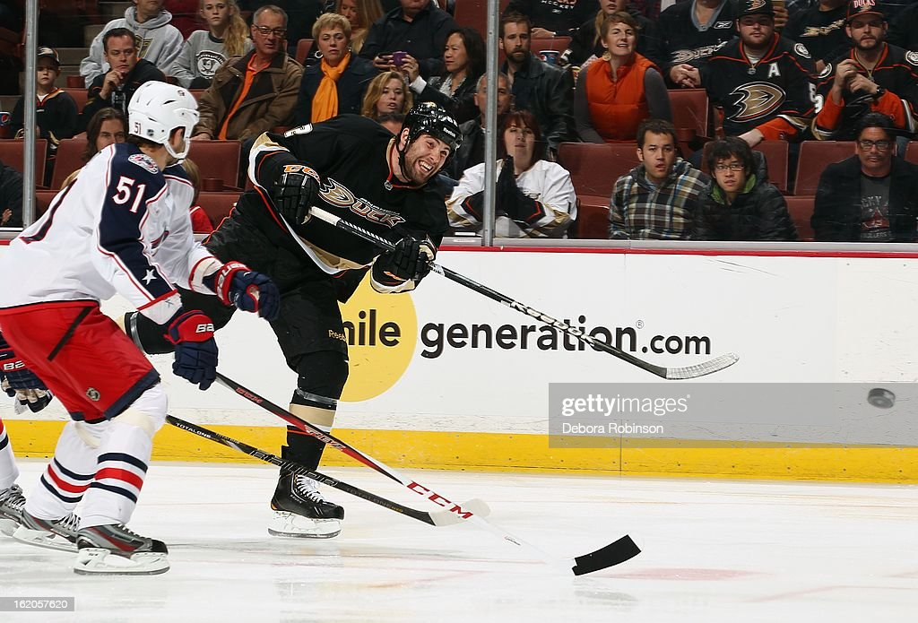 Patrick Maroon #62 of the Anaheim Ducks takes a shot past <a gi-track='captionPersonalityLinkClicked' href=/galleries/search?phrase=Fedor+Tyutin&family=editorial&specificpeople=215245 ng-click='$event.stopPropagation()'>Fedor Tyutin</a> #51 of the Columbus Blue Jackets on February 18, 2013 at Honda Center in Anaheim, California.