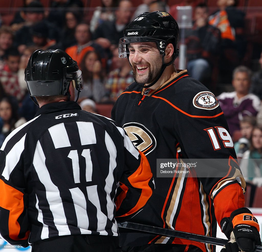 <a gi-track='captionPersonalityLinkClicked' href=/galleries/search?phrase=Patrick+Maroon&family=editorial&specificpeople=4589240 ng-click='$event.stopPropagation()'>Patrick Maroon</a> #19 of the Anaheim Ducks talks with referee <a gi-track='captionPersonalityLinkClicked' href=/galleries/search?phrase=Kelly+Sutherland&family=editorial&specificpeople=804878 ng-click='$event.stopPropagation()'>Kelly Sutherland</a> #11 during the game against the Arizona Coyotes on November 23, 2014 at Honda Center in Anaheim, California.