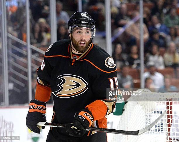 Patrick Maroon of the Anaheim Ducks waches play against the Arizona Coyotes at Honda Center on November 7 2014 in Anaheim California