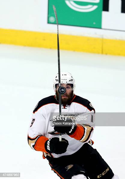 Patrick Maroon of the Anaheim Ducks watches a loose puck in the first period of Game Six of the Western Conference Finals against the Chicago...