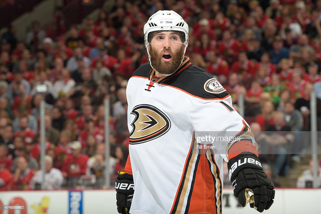 Patrick Maroon of the Anaheim Ducks yells out in Game Four of the Western Conference Finals against the Chicago Blackhawks during the 2015 NHL...