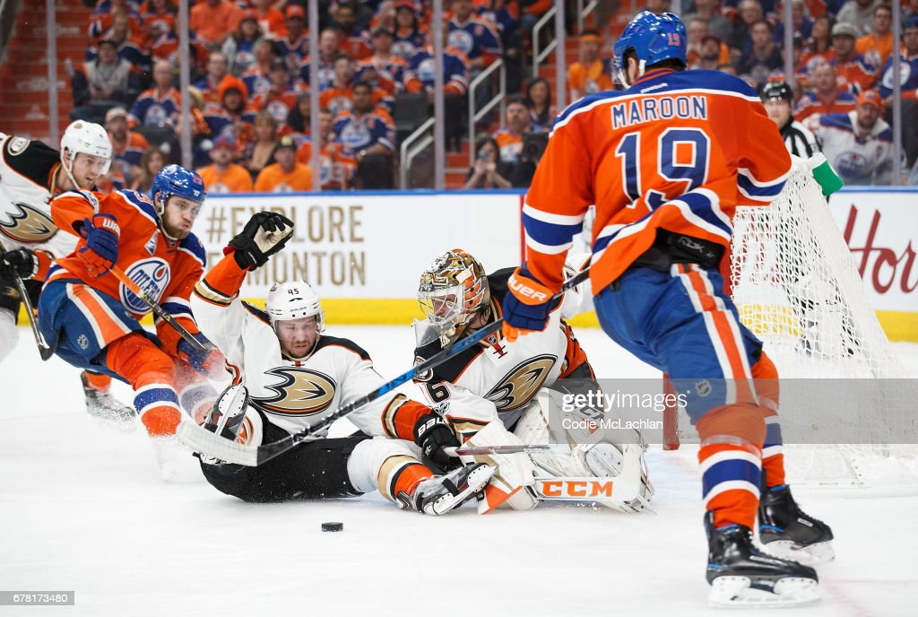 Patrick Maroon #19 of the Edmonton Oilers can't get the puck past goalie John Gibson #36 of the Anaheim Ducks in Game Four of the Western Conference Second Round during the 2017 NHL Stanley Cup Playoffs at Rogers Place on May 3, 2017 in Edmonton, Alberta, Canada.