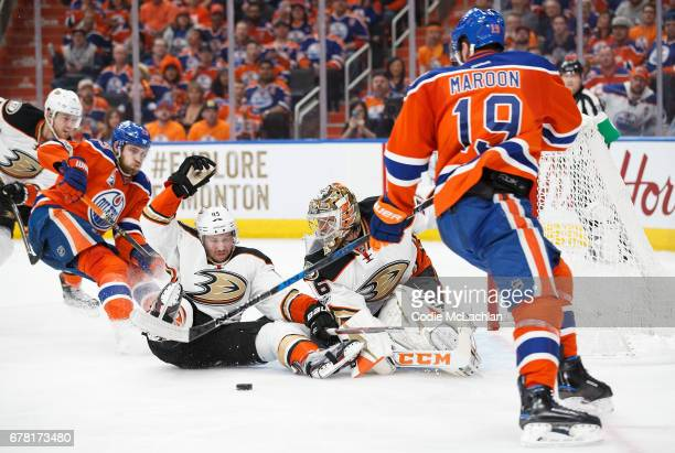 Patrick Maroon of the Edmonton Oilers can't get the puck past goalie John Gibson of the Anaheim Ducks in Game Four of the Western Conference Second...