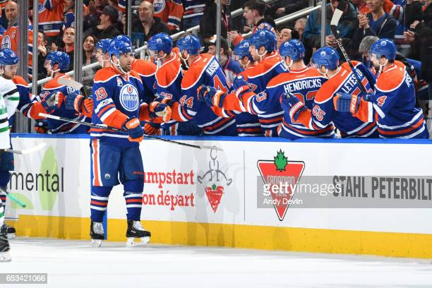 Patrick Maroon of the Edmonton Oilers celebrates after a goal during the game against the Dallas Stars on March 14 2017 at Rogers Place in Edmonton...
