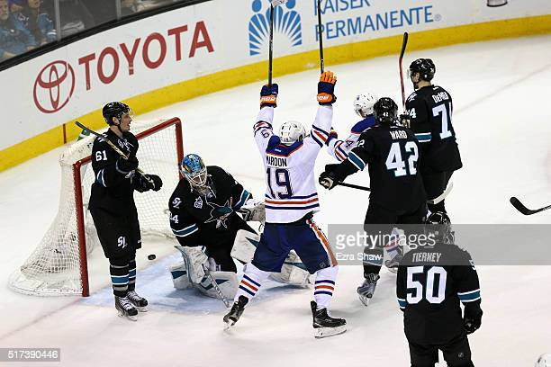 Patrick Maroon of the Edmonton Oilers celebrates after Jordan Eberle of the Edmonton Oilers scored a goal on James Reimer of the San Jose Sharks at...