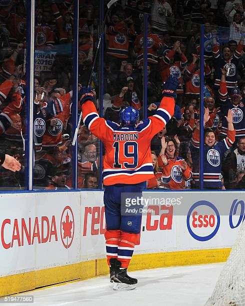 Patrick Maroon of the Edmonton Oilers celebrates after scoring a goal during the game against the Vancouver Canucks on April 6 2016 at Rexall Place...