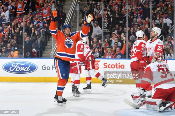 Patrick Maroon of the Edmonton Oilers celebrates after scoring a goal during the game against the Detroit Red Wings on March 4 2017 at Rogers Place...