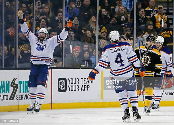 Patrick Maroon of the Edmonton Oilers celebrates his third goal of the game against the Boston Bruins in the third period at TD Garden on January 5...