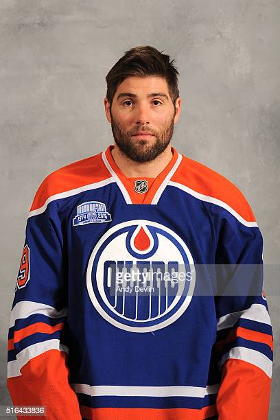 Patrick Maroon of the Edmonton Oilers poses for his official headshot for the 20152016 season on March 18 2016 at Rexall Place in Edmonton Alberta...