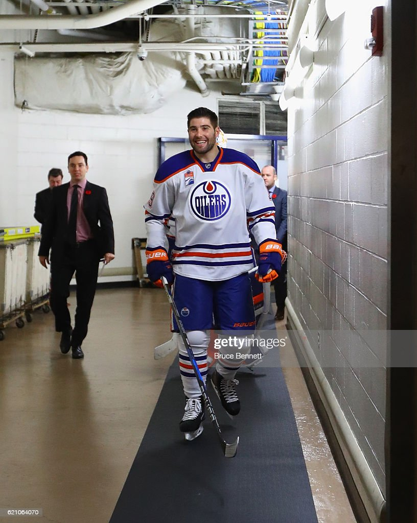 Patrick Maroon #19 of the Edmonton Oilers prepares to play against the New York Rangers at Madison Square Garden on November 3, 2016 in New York City. The Rangers defeated the Oilers 5-3.