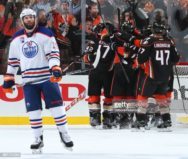 Patrick Maroon of the Edmonton Oilers reacts as the Anaheim Ducks celebrate their 21 win in Game Seven of the Western Conference Second Round during...