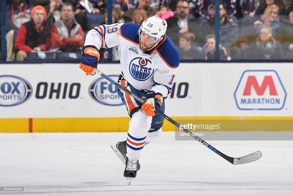 Patrick Maroon of the Edmonton Oilers skates against the Columbus Blue Jackets on March 4 2016 at Nationwide Arena in Columbus Ohio