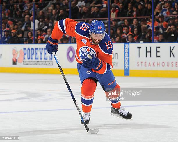 Patrick Maroon of the Edmonton Oilers skates during a game against the Vancouver Canucks on March 18 2016 at Rexall Place in Edmonton Alberta Canada