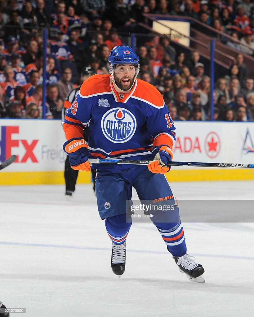 Patrick Maroon of the Edmonton Oilers skates during a game against the Anaheim Ducks on March 28 2016 at Rexall Place in Edmonton Alberta Canada
