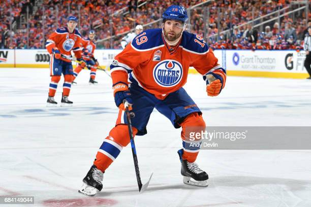 Patrick Maroon of the Edmonton Oilers skates during Game One of the Western Conference First Round during the 2017 NHL Stanley Cup Playoffs against...