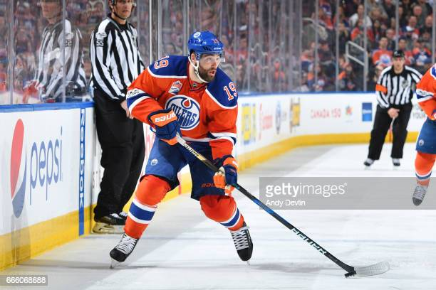 Patrick Maroon of the Edmonton Oilers skates during the game against the Anaheim Ducks on April 1 2017 at Rogers Place in Edmonton Alberta Canada