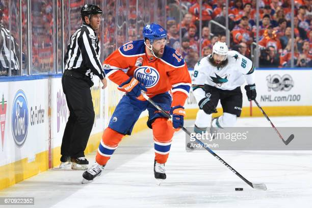Patrick Maroon of the Edmonton Oilers skates in Game Five of the Western Conference First Round during the 2017 NHL Stanley Cup Playoffs against the...