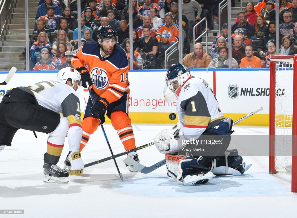 Patrick Maroon #19 of the Edmonton Oilers takes a shot on Dylan Ferguson #1 of the Vegas Golden Knights on November 14, 2017 at Rogers Place in Edmonton, Alberta, Canada.
