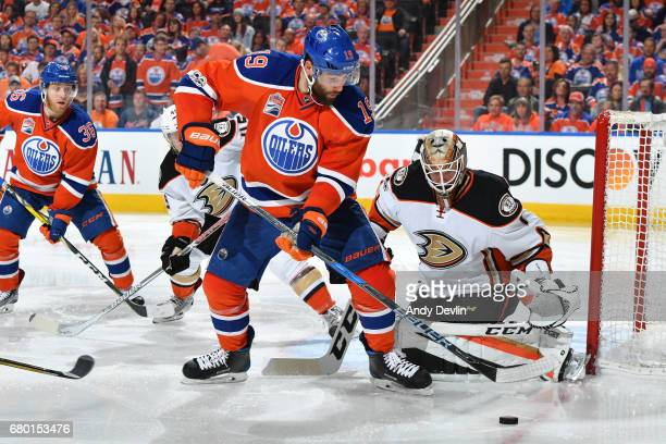Patrick Maroon of the Edmonton Oilers takes a shot on Jonathan Bernier in Game Six of the Western Conference Second Round during the 2017 NHL Stanley...