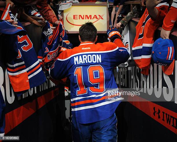 Patrick Maroon of the Edmonton Oilers walks to the locker room prior to a game against the San Jose Sharks on March 8 2016 at Rexall Place in...