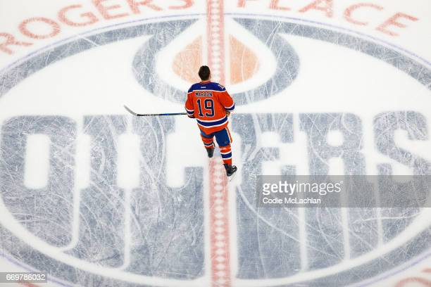 Patrick Maroon of the Edmonton Oilers warms up against the San Jose Sharks in Game Two of the Western Conference First Round during the 2017 NHL...