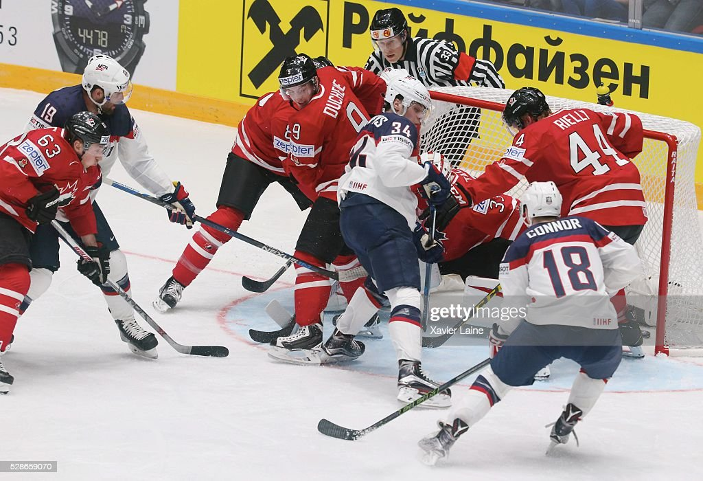 Patrick Maroon #19 of USA score agoal over Matt Duchene #9 of Canada during the 2016 IIHF World Championship between USA and Canada at Yubileyny Sports Palace ,on May 6, 2016 in Saint Petersburg, Russia.