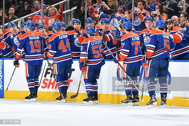 Patrick Maroon Oscar Klefbom Mark Letestu Mark Fayne and Zack Kassian of the Edmonton Oilers celebrate after a goal during the game against the...