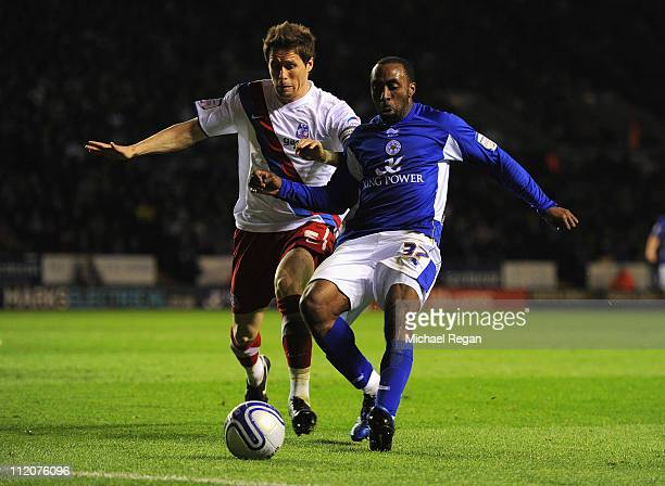 Patrick McCarthy of Palace in action with Darius Vassell of Leicester during the npower Championship match between Leicester City and Crystal Palace...
