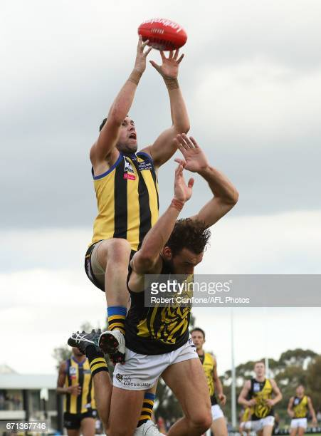 Patrick McCartin of Sandringham attempts to mark during the round two VFL match between Sandringham and Richmond at Trevor Barker Beach Oval on April...