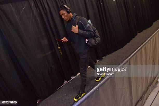 Patrick McCaw of the Golden State Warriors arrives at the arena before Game Four of the Western Conference Finals against the San Antonio Spurs...