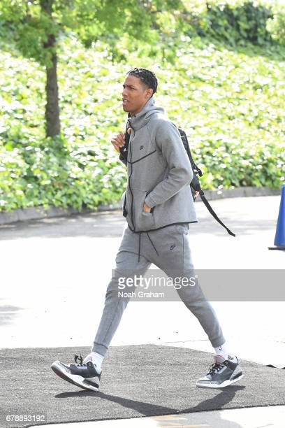 Patrick McCaw of the Golden State Warriors arrives before the game against the Utah Jazz in Game Two the Western Conference Semifinals of the 2017...