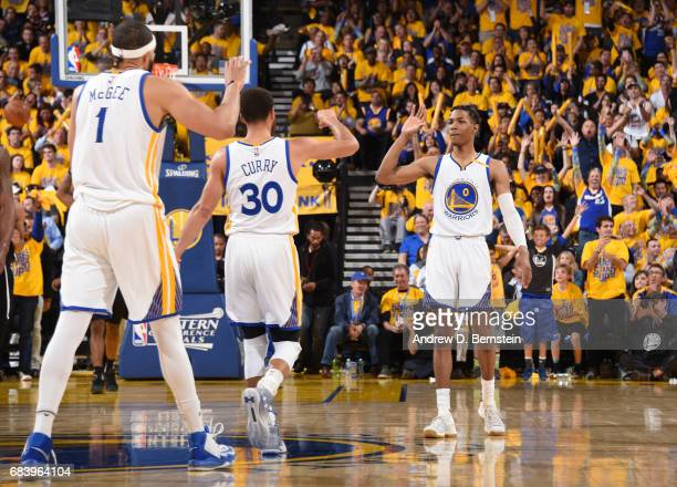 Patrick McCaw of the Golden State Warriors celebrates during Game Two of the Western Conference Finals of the 2017 NBA Playoffs on May 16 2017 at...