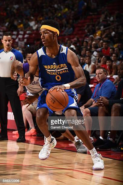 Patrick McCaw of the Golden State Warriors dribbles the ball against the Los Angeles Lakers during the 2016 NBA Las Vegas Summer League on July 11...