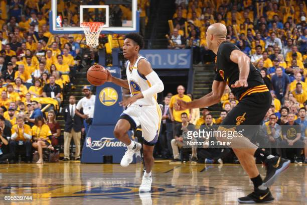 Patrick McCaw of the Golden State Warriors dribbles the ball against the Cleveland Cavaliers in Game Five of the 2017 NBA Finals on June 12 2017 at...