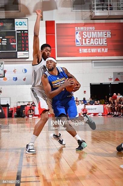 Patrick McCaw of the Golden State Warriors drives to the basket against the Toronto Raptors during the 2016 NBA Las Vegas Summer League game on July...