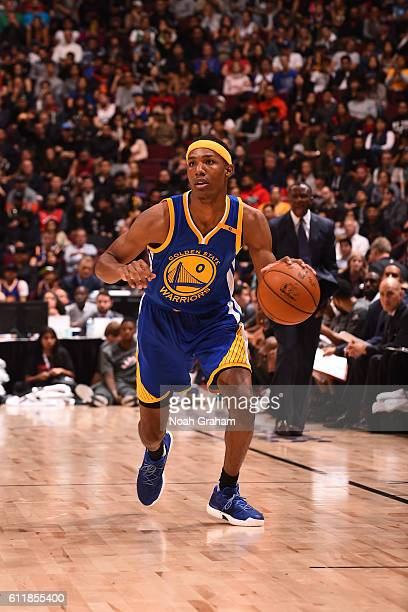 Patrick McCaw of the Golden State Warriors drives to the basket against the Toronto Raptors during a preseason game on October 1 2016 at Rogers Arena...