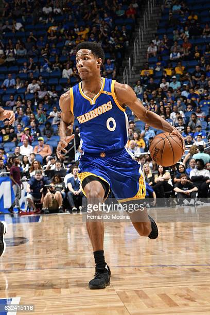 Patrick McCaw of the Golden State Warriors drives to the basket against the Orlando Magic on January 22 2017 at Amway Center in Orlando Florida NOTE...