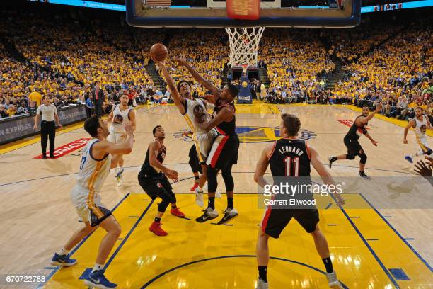 Patrick McCaw of the Golden State Warriors drives to the basket against the Portland Trail Blazers during the Western Conference Quarterfinals of the...
