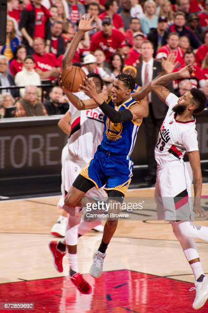 Patrick McCaw of the Golden State Warriors drives to the basket against the Portland Trail Blazers in Game Three of the Western Conference...