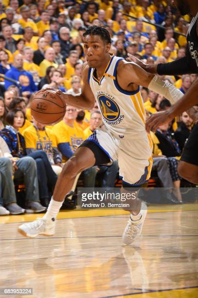 Patrick McCaw of the Golden State Warriors drives to the basket against the San Antonio Spurs during Game Two of the Western Conference Finals of the...