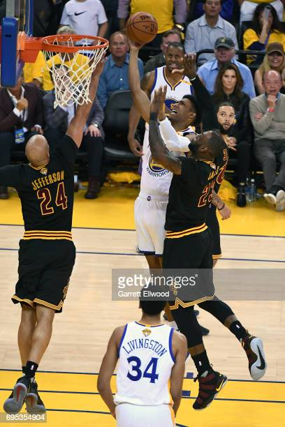 Patrick McCaw of the Golden State Warriors drives to the basket against the Cleveland Cavaliers in Game Five of the 2017 NBA Finals on June 12 2017...