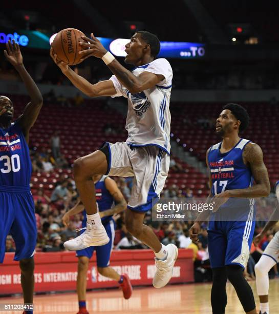 Patrick McCaw of the Golden State Warriors drives to the basket against the Philadelphia 76ers during the 2017 Summer League at the Thomas Mack...