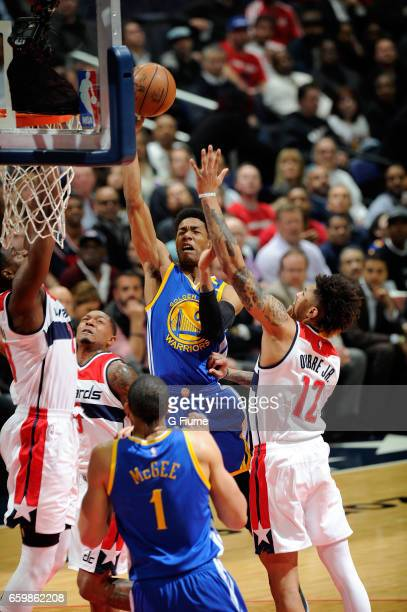 Patrick McCaw of the Golden State Warriors drives to the hoop against the Washington Wizards at Verizon Center on February 28 2017 in Washington DC