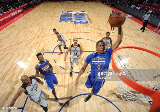 Patrick McCaw of the Golden State Warriors dunks against the Minnesota Timberwolves during the 2017 Summer League on July 12 2017 at the Thomas Mack...