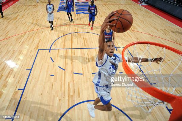 Patrick McCaw of the Golden State Warriors dunks the ball during the game against the Philadelphia 76ers during the 2017 Las Vegas Summer League on...