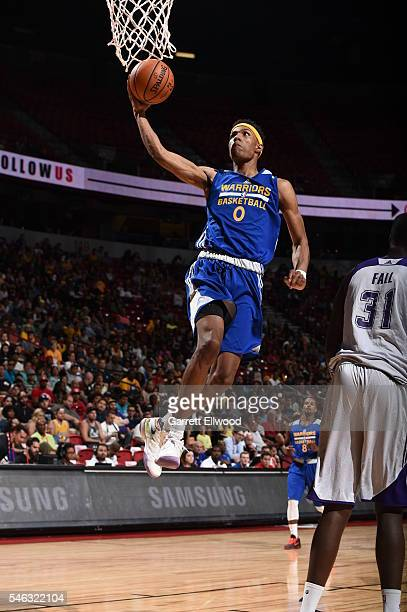 Patrick McCaw of the Golden State Warriors goes to the basket against the Los Angeles Lakers during the 2016 NBA Las Vegas Summer League on July 11...