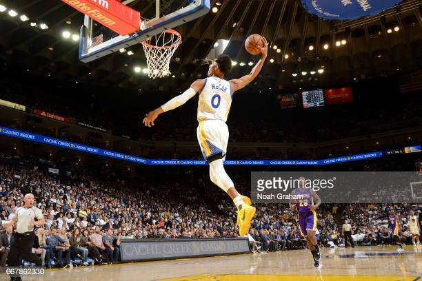 Patrick McCaw of the Golden State Warriors goes up for a dunk against the Los Angeles Lakers on April 12 2017 at ORACLE Arena in Oakland California...