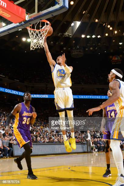 Patrick McCaw of the Golden State Warriors goes up for a lay up against the Los Angeles Lakers on April 12 2017 at ORACLE Arena in Oakland California...