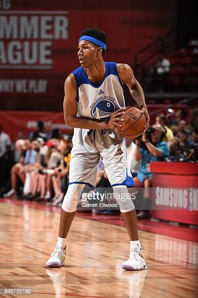 Patrick McCaw of the Golden State Warriors handles the ball against the San Antonio Spurs during the 2016 NBA Las Vegas Summer League on July 9 2016...